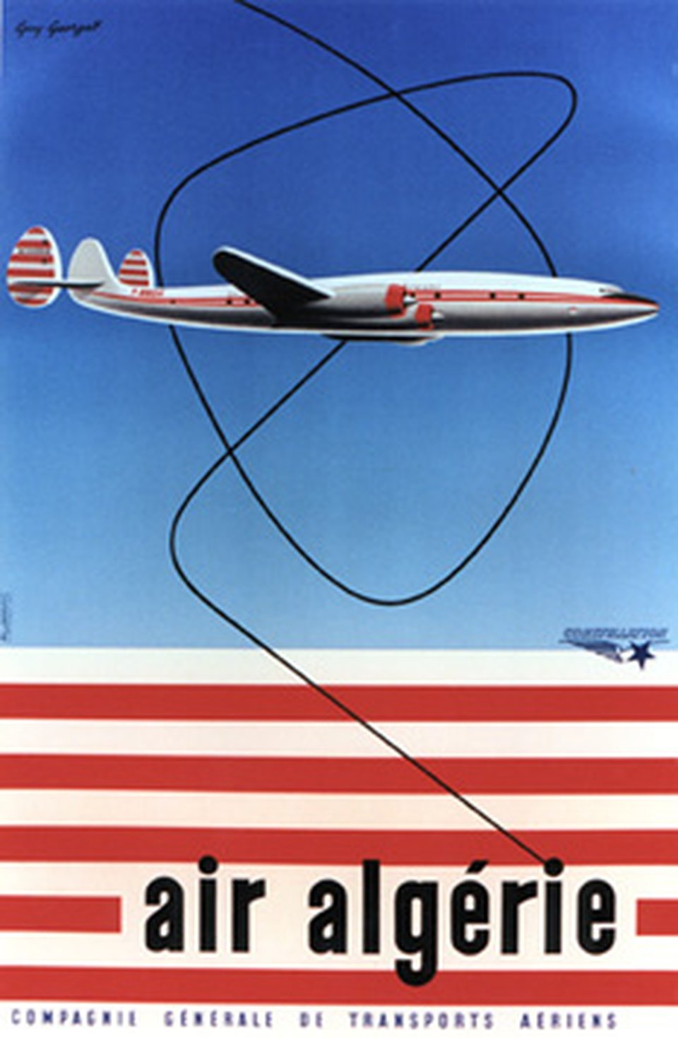 Air Algérie, constellation – Affiche ancienne – Guy GEORGET – 1958