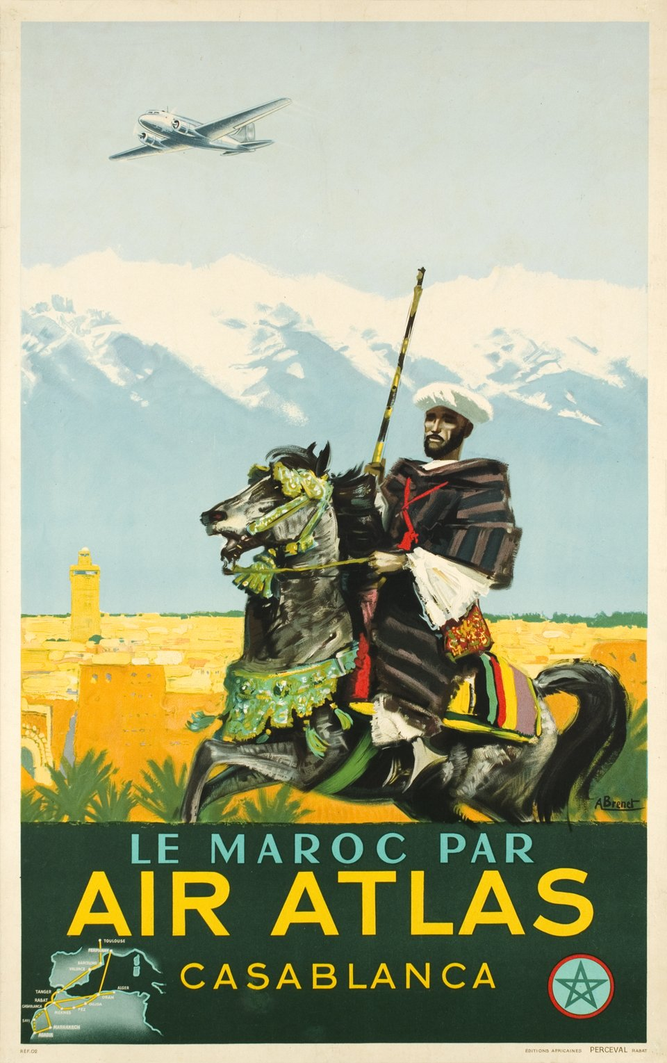 Air Atlas, le Maroc par Air Atlas, Casablanca – Vintage poster – Albert BRENET – 1950