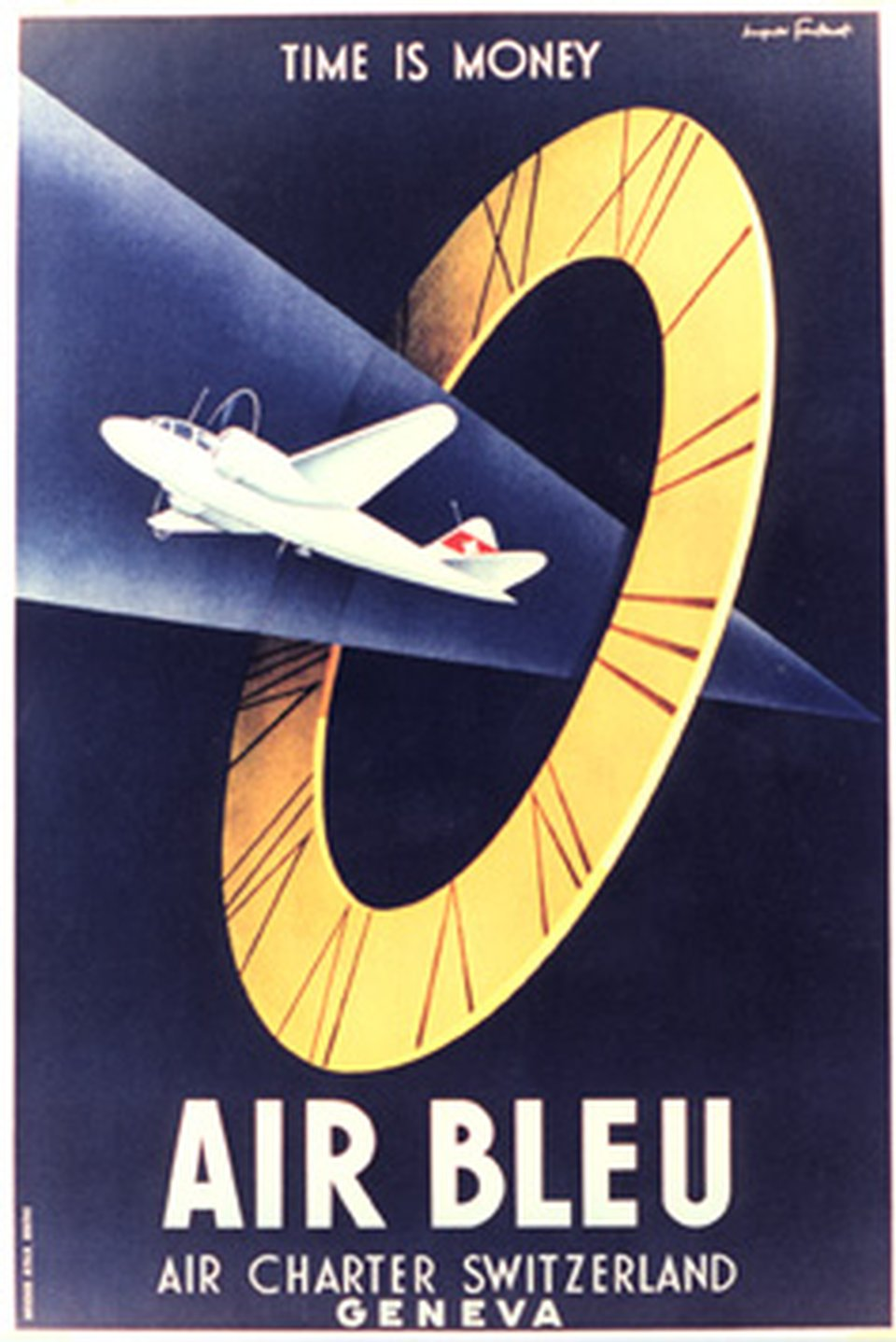"Air Bleu,Air Charter, Switzerland, geneva, ""Time is money"" – Affiche ancienne – Hugues FONTANET – 1935"