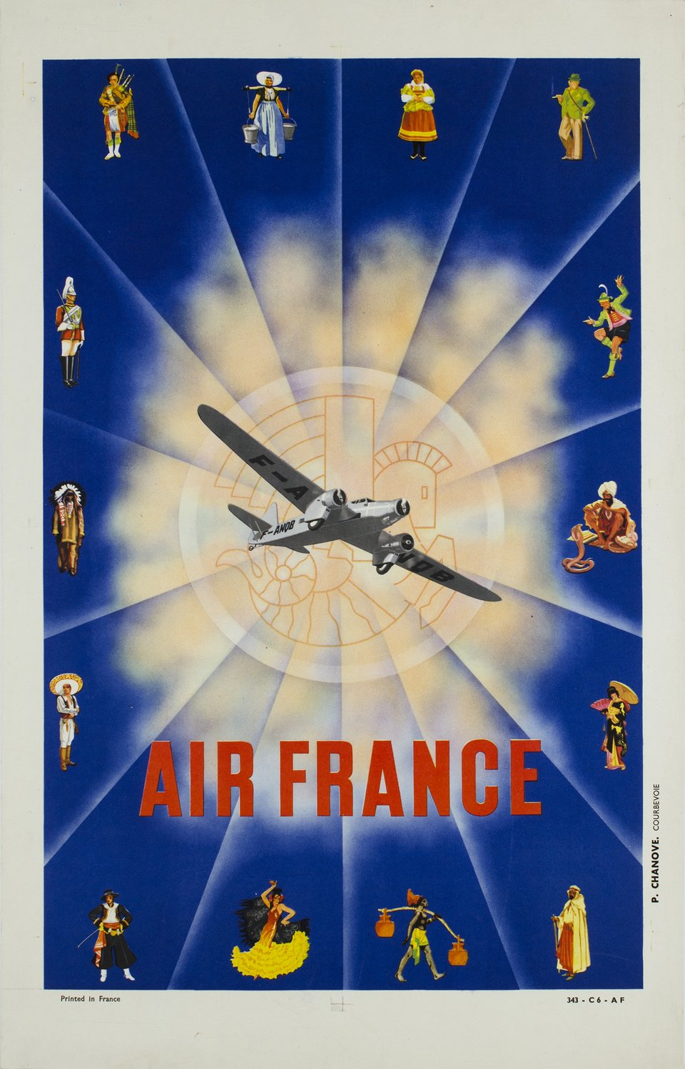 Air France – Affiche ancienne – N. GERAL – 1937
