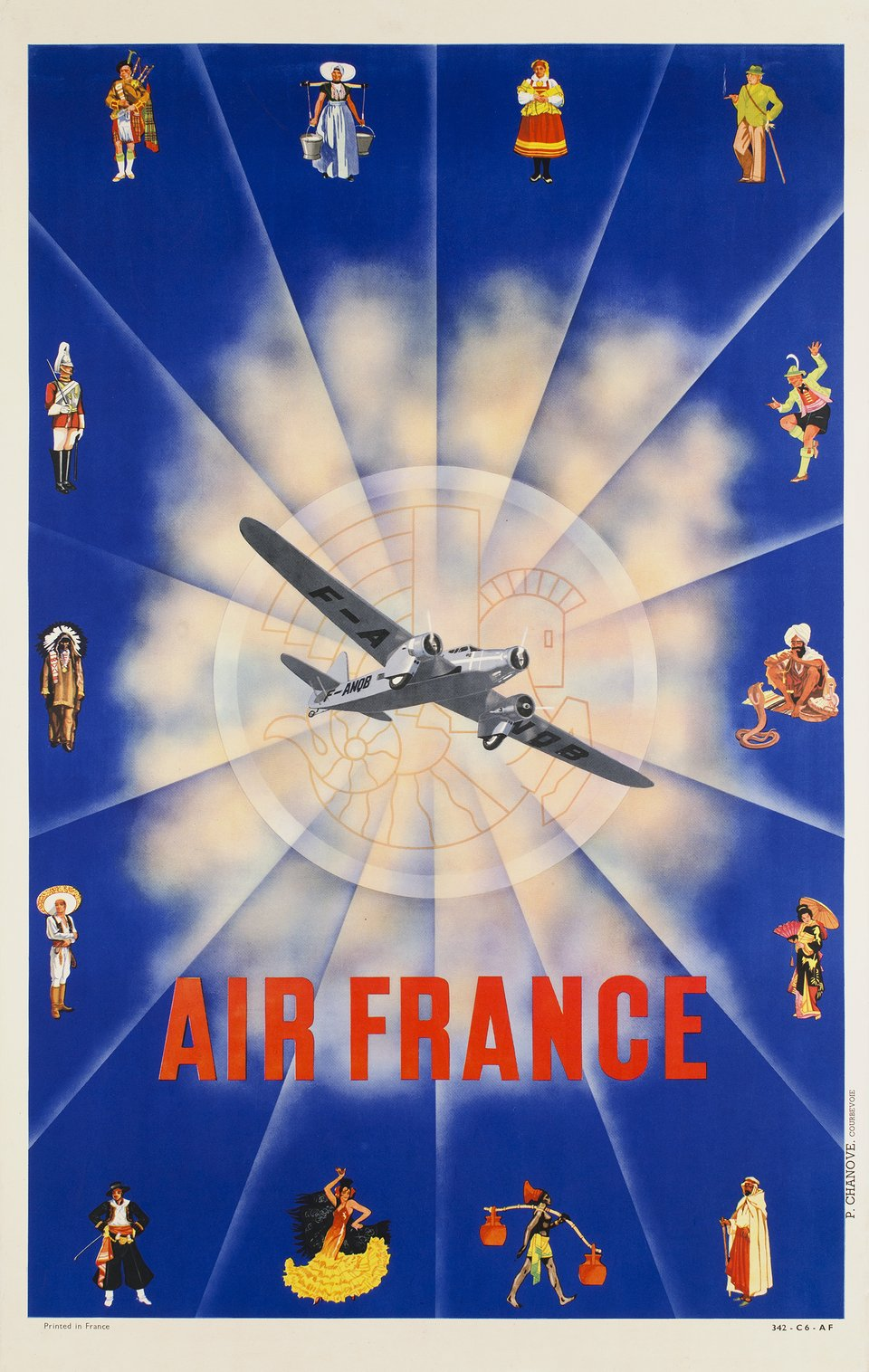 Air France – Affiche ancienne – GERAL, N. GERALD ALEXANDRE – 1937