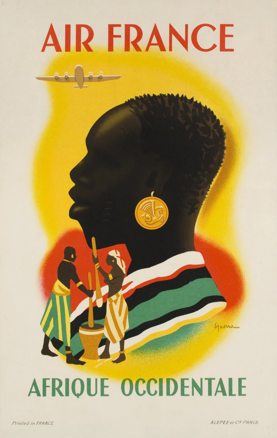 Air France, Afrique Occidentale – Affiche ancienne – Vincent GUERRA – 1948