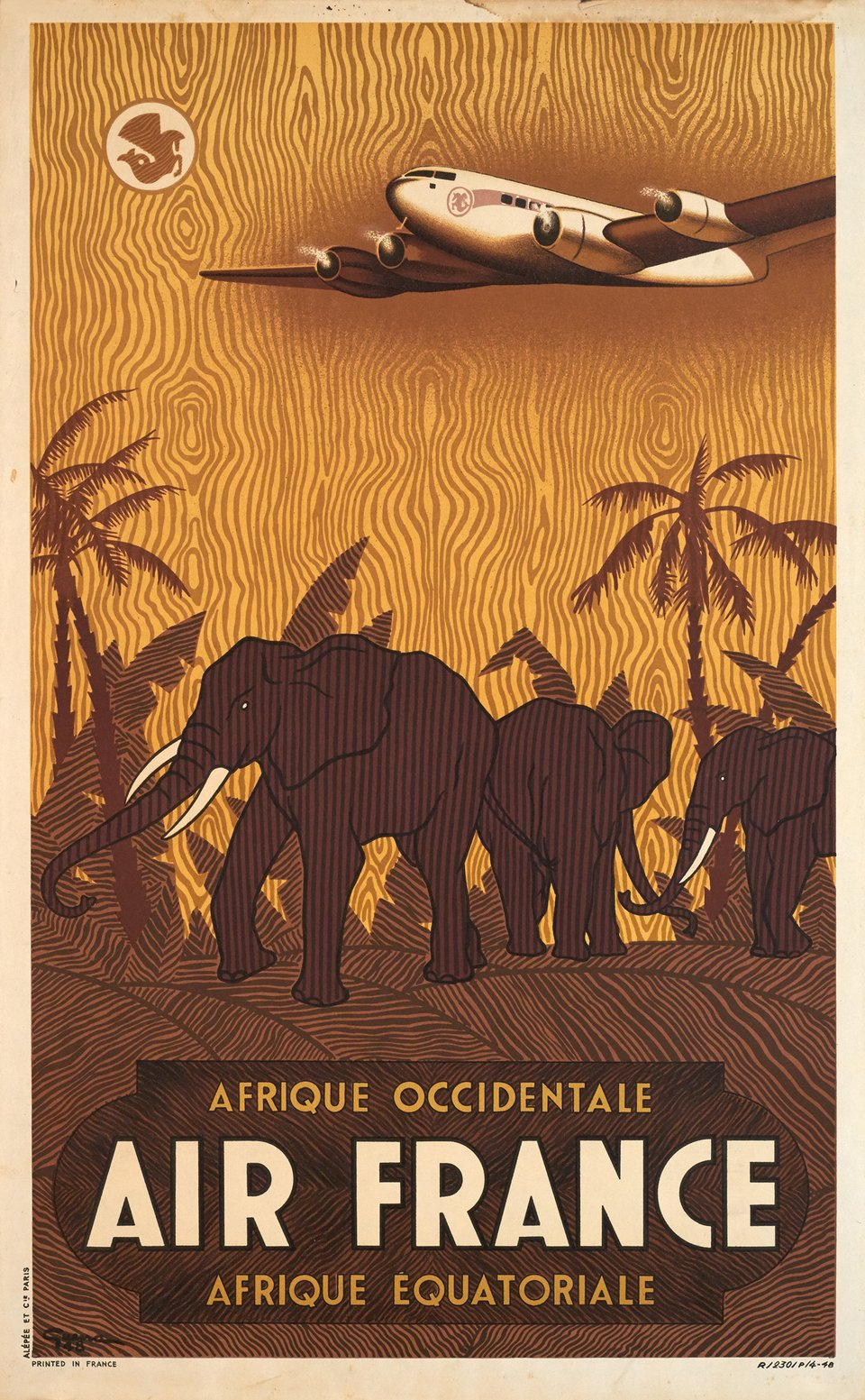 Air France, Afrique Occidentale & Equatoriale – Affiche ancienne – Vincent GUERRA – 1948
