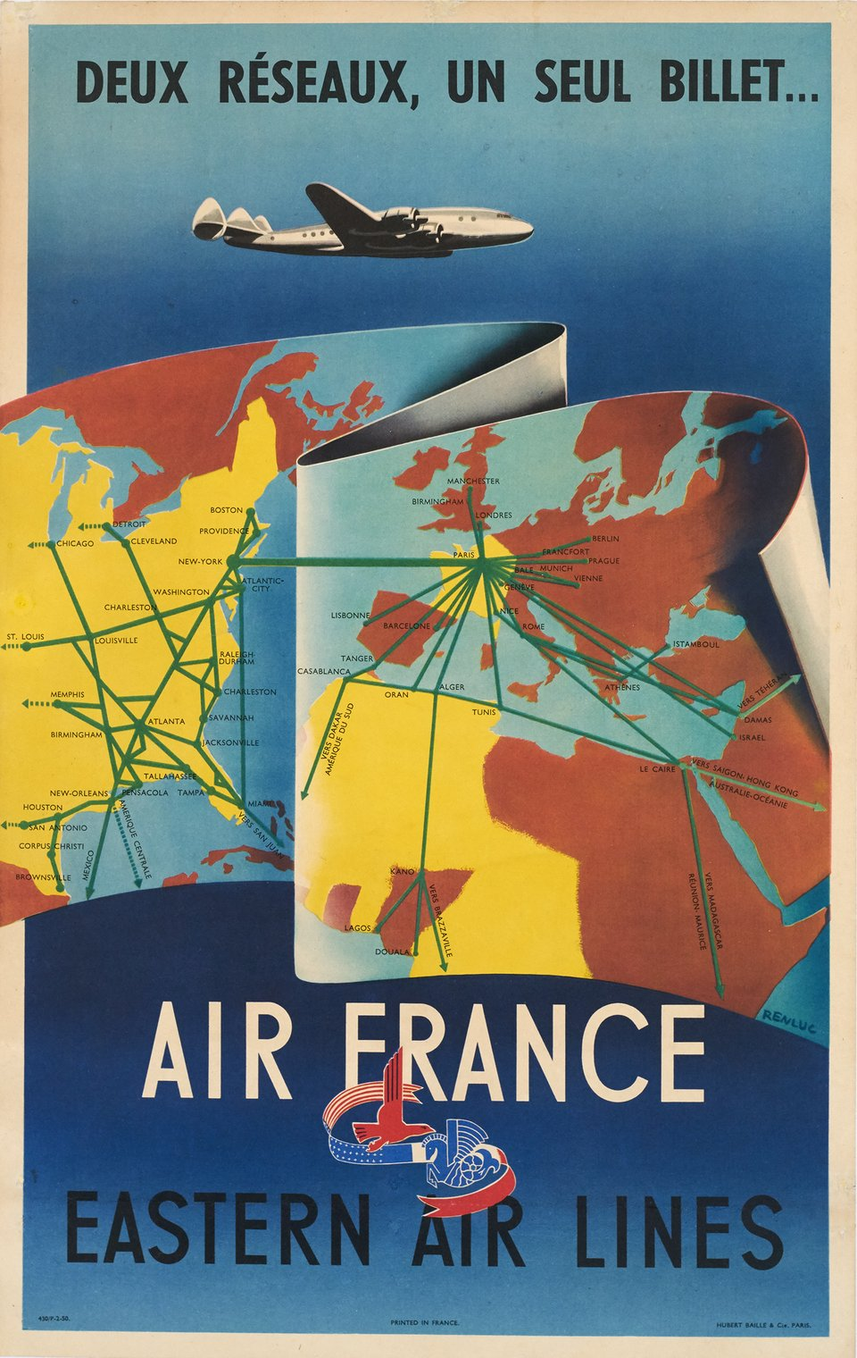 Air France, Eastern Air Lines – Vintage poster –  RENLUC – 1950