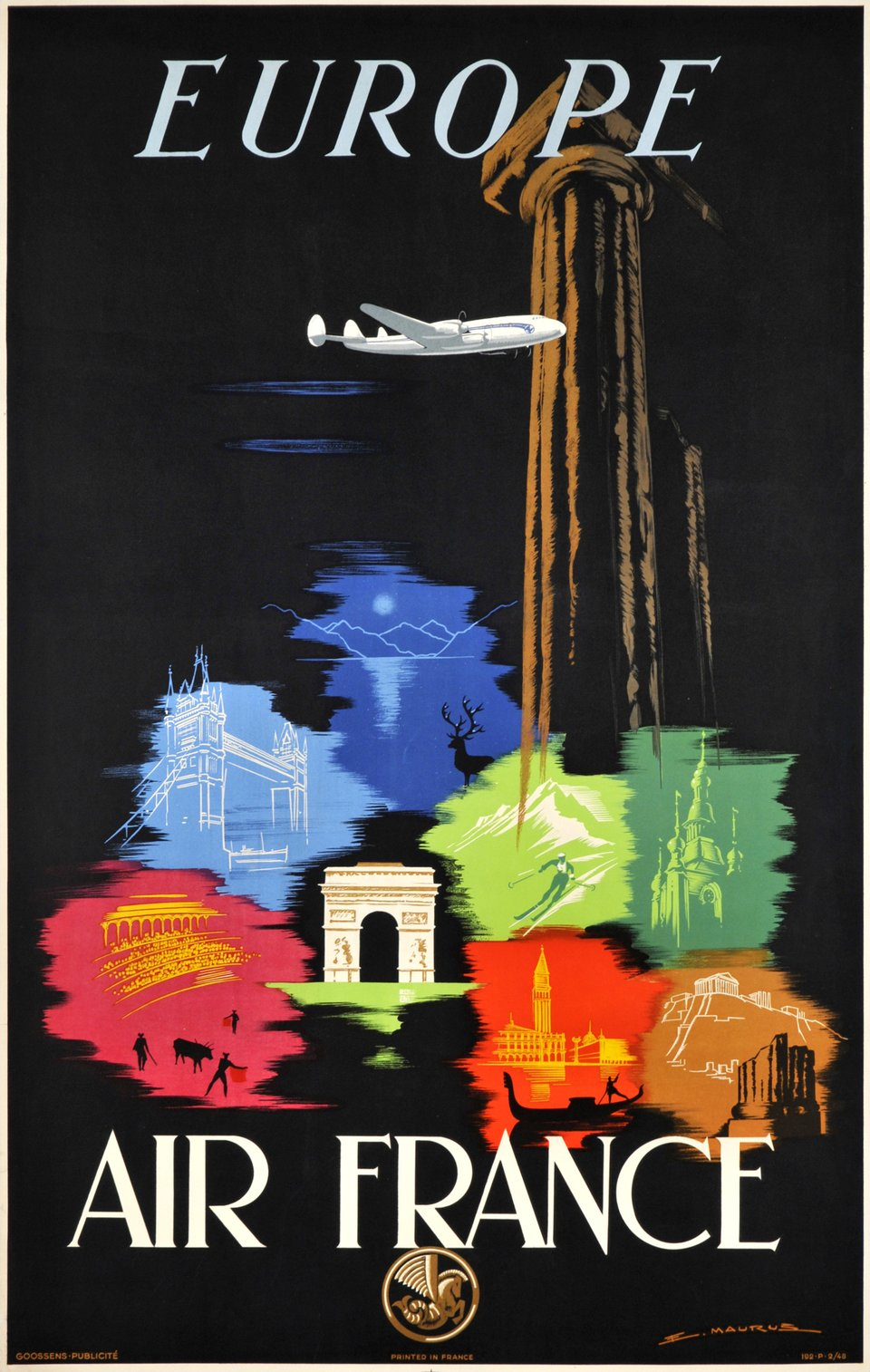 Air France, Europe – Affiche ancienne – Edmond MAURUS – 1948