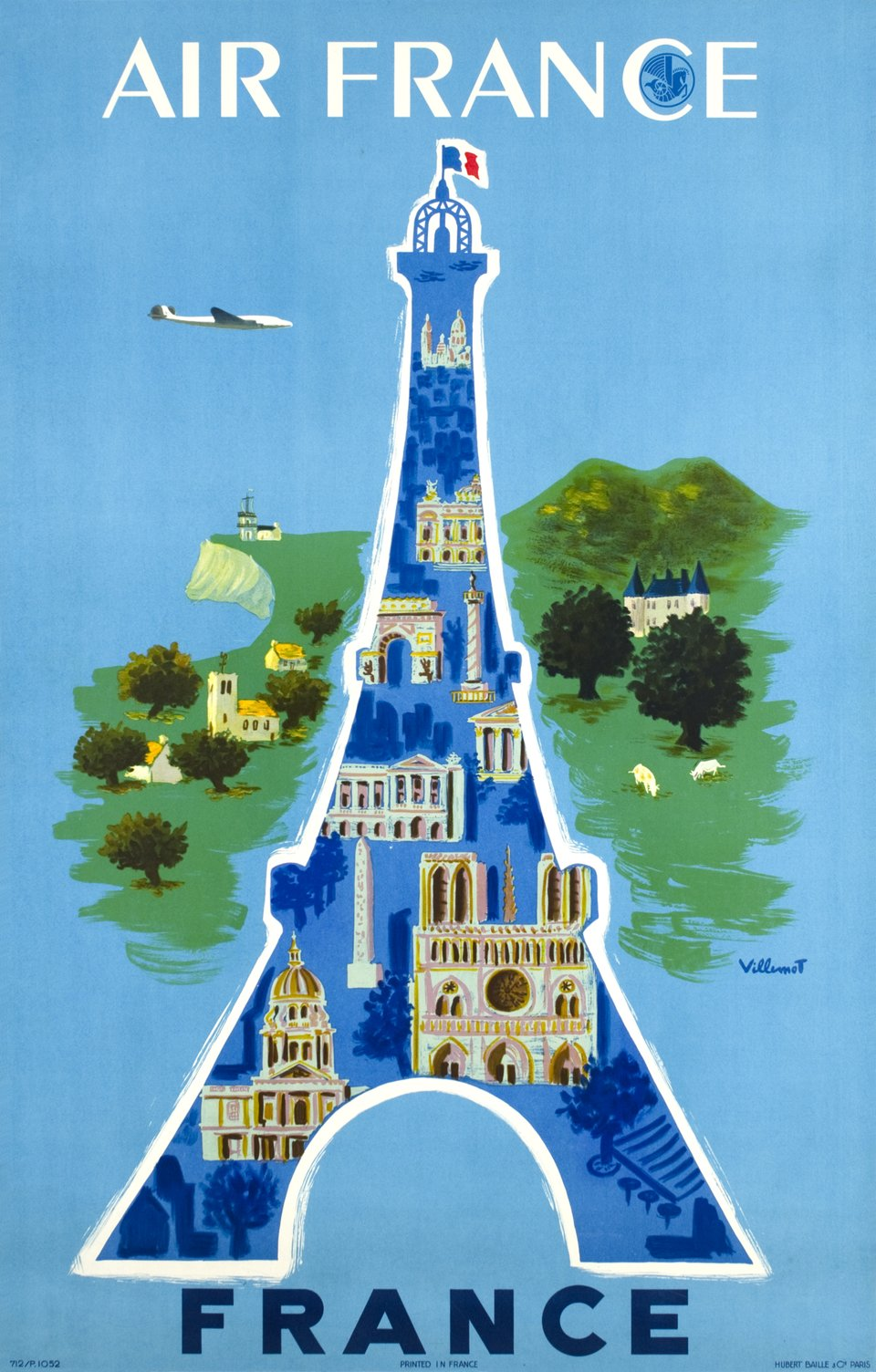 Air France, France – Affiche ancienne – Bernard VILLEMOT – 1952