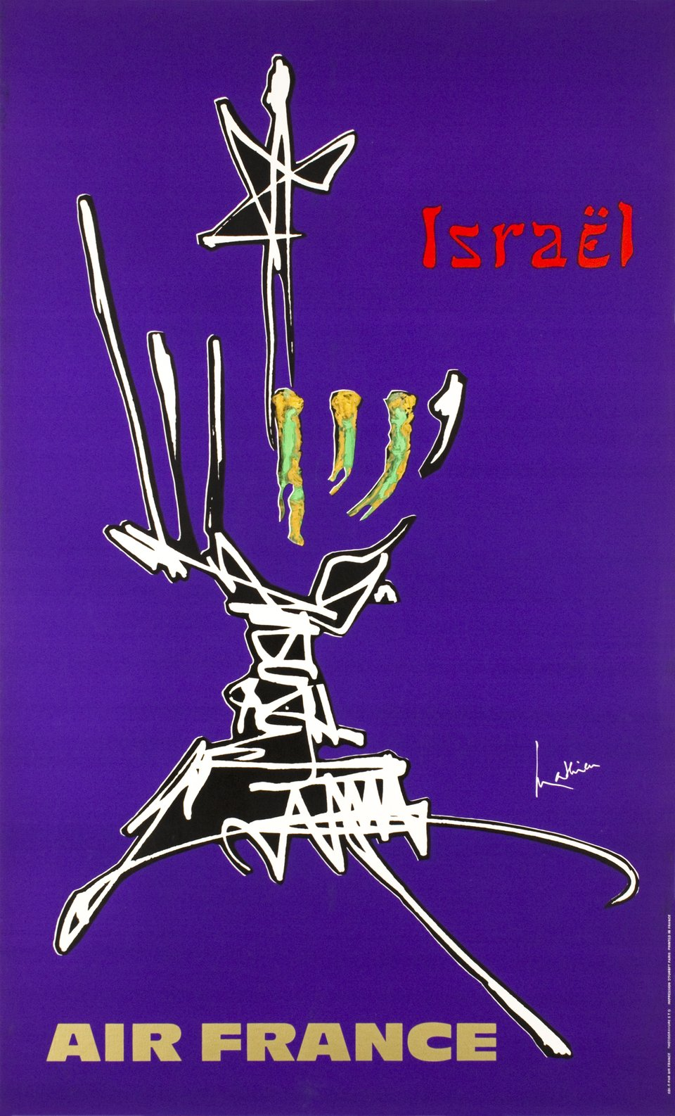 Air France, Israël – Vintage poster – Georges MATHIEU – 1968