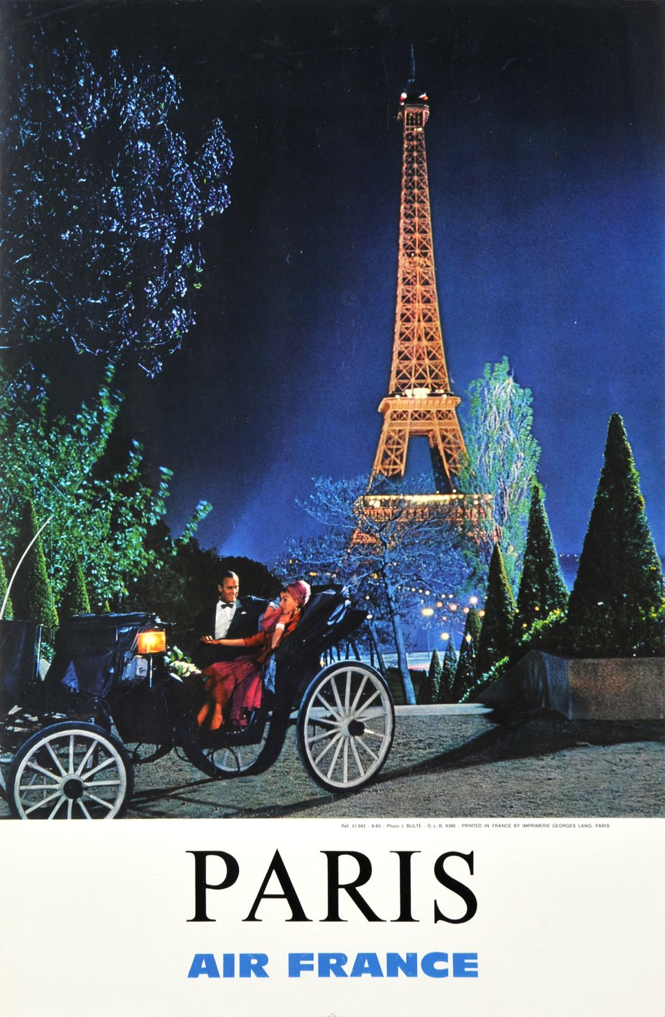Air France, Paris – Affiche ancienne – J. BULTE – 1963