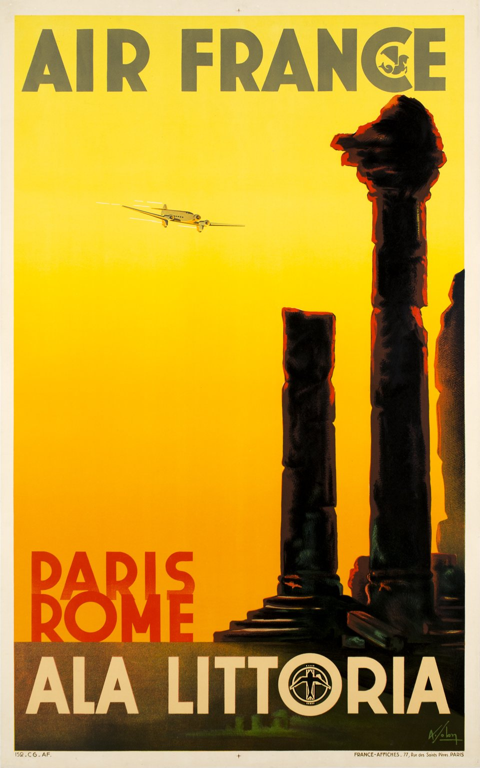 Air France, Paris - Rome, Ala Littoria – Vintage poster – Albert SOLON – 1938