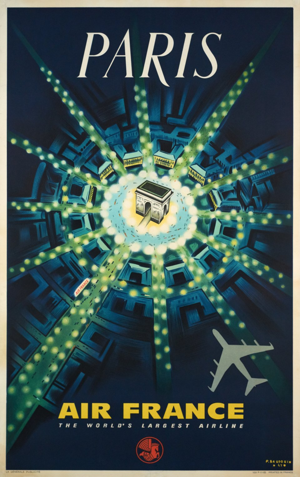 Air France - Paris, the world's largest airline – Affiche ancienne – Pierre BAUDOIN – 1963