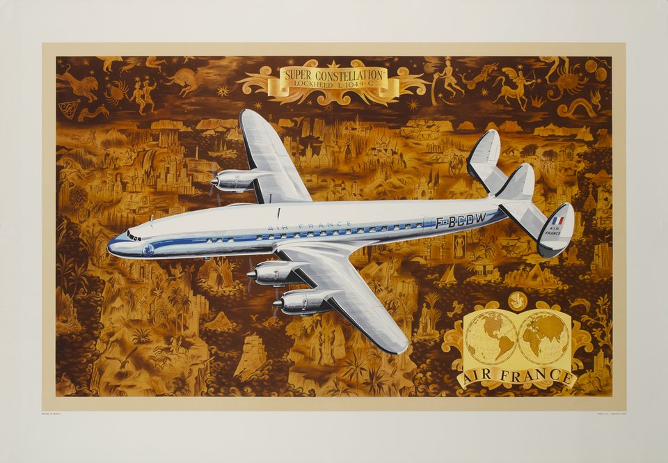 Air France, Super Constellation Lockheed L-1049-C – Affiche ancienne – Lucien BOUCHER – 1953