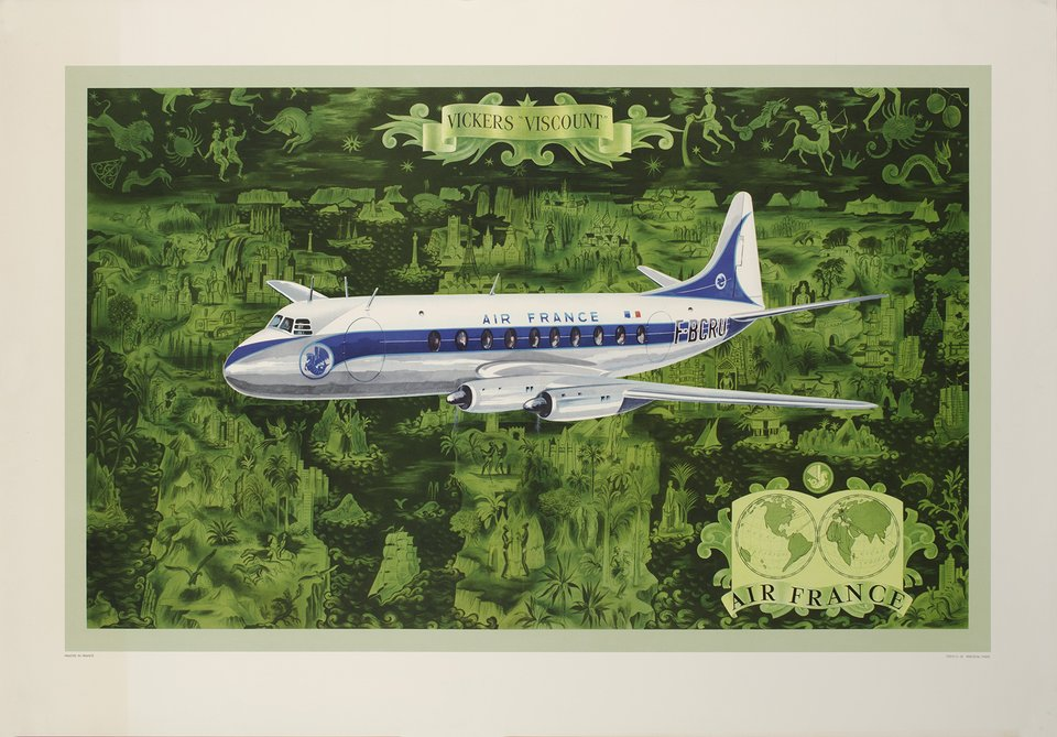 Air France, Vickers Viscount – Affiche ancienne – Lucien BOUCHER – 1953