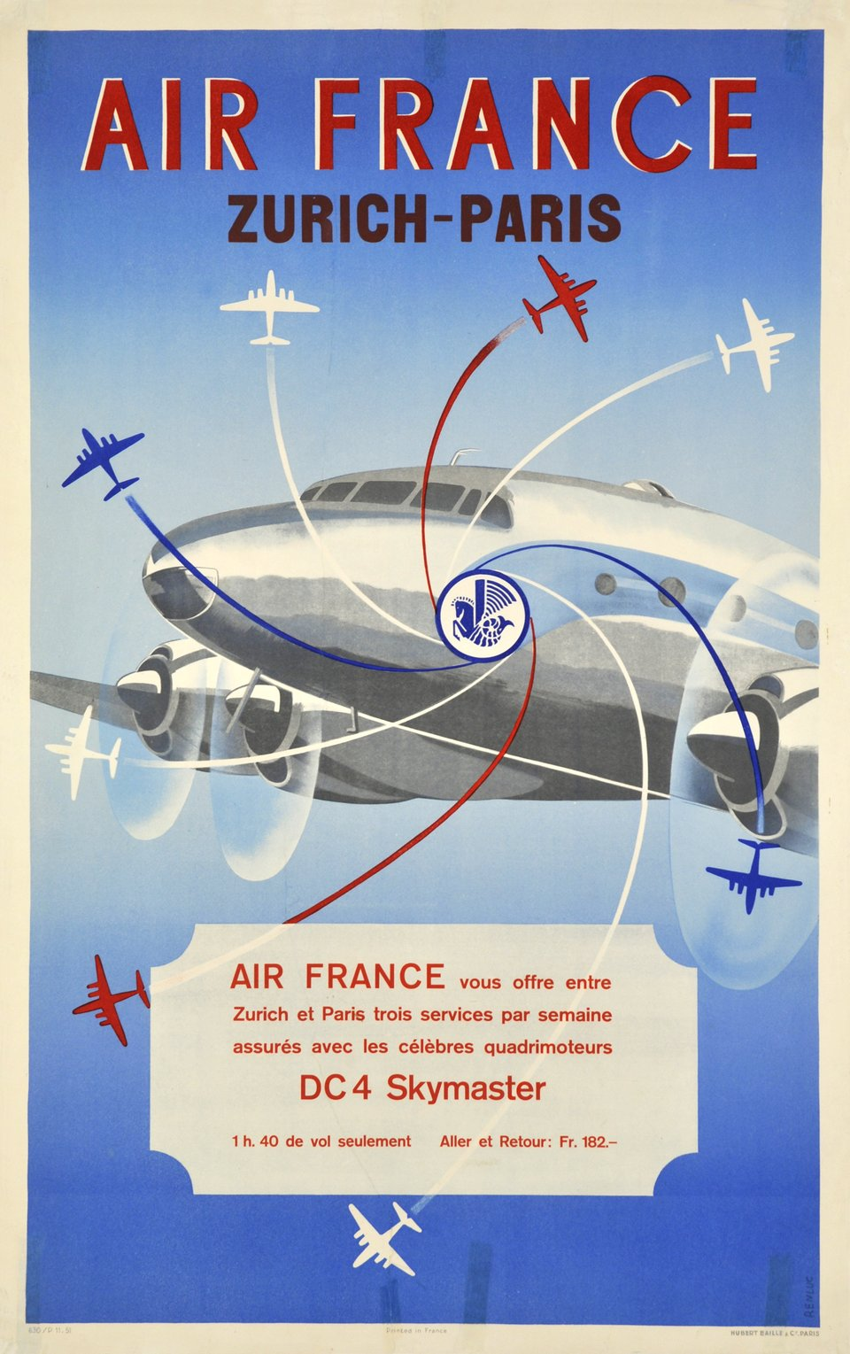 Air France, Zürich-Paris, DC4 Skymaster – Affiche ancienne –  RENLUC – 1951