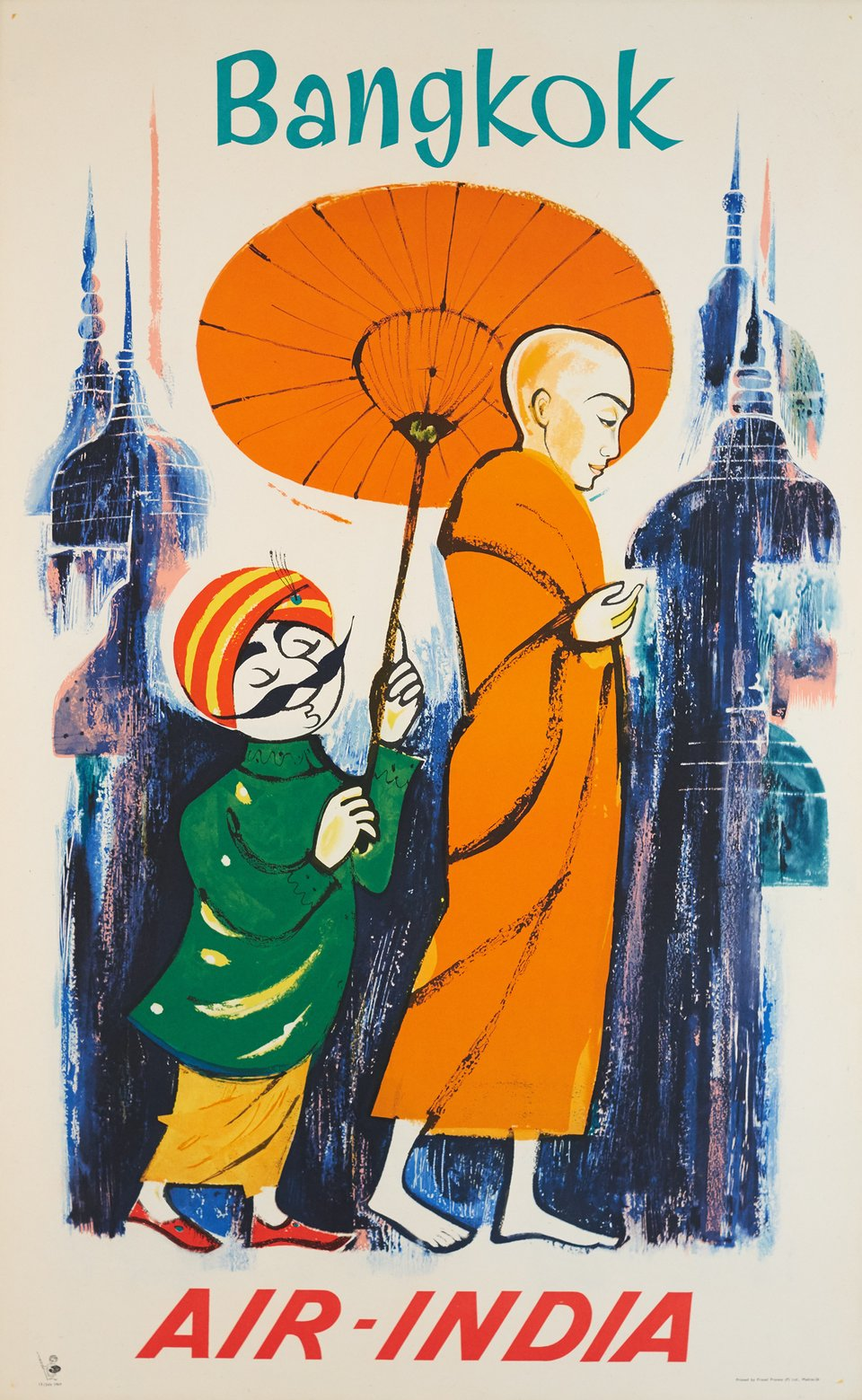 Air-India, Bangkok – Vintage poster – ANONYME – 1969