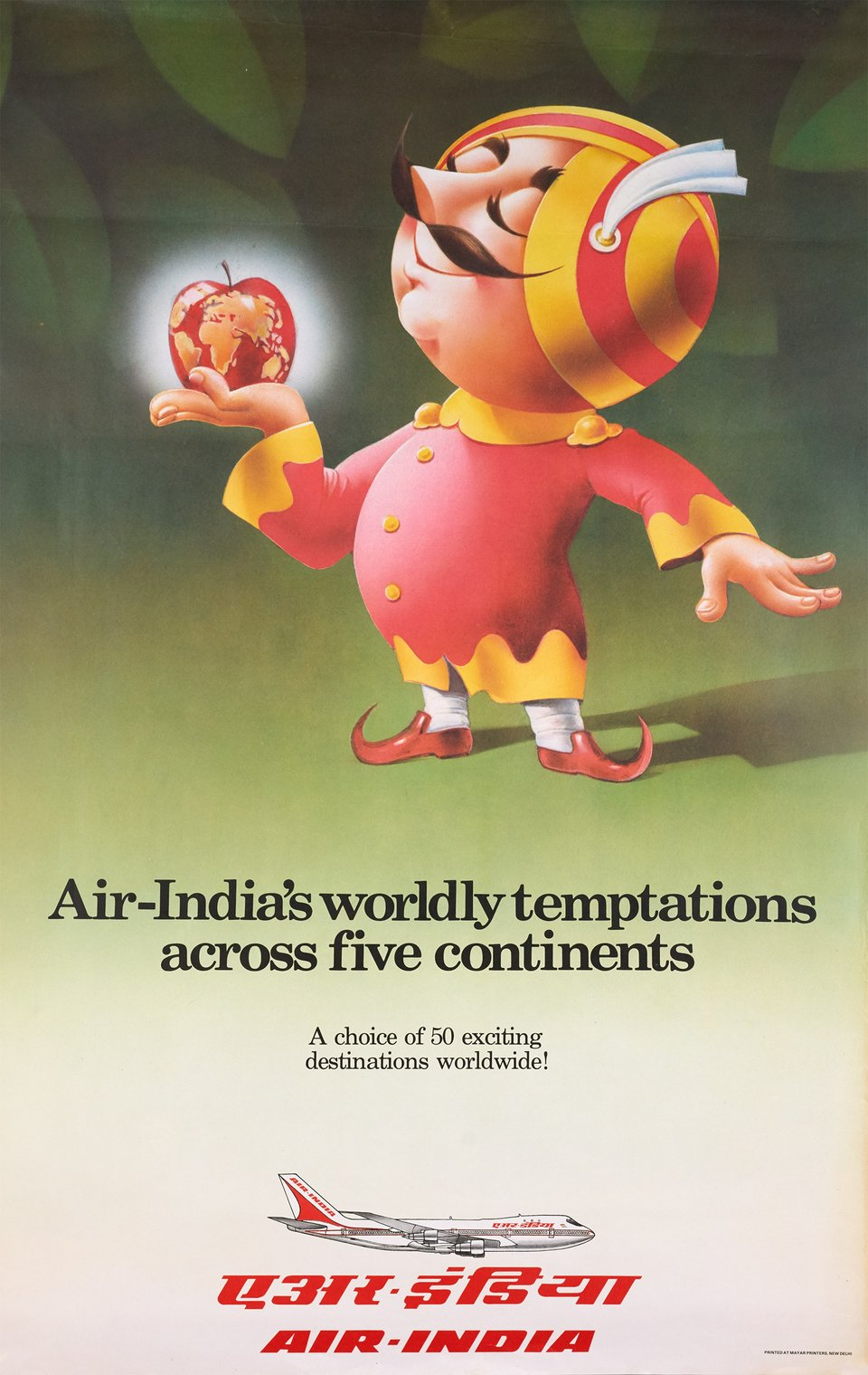 Air-India's Worldly Temptations across Five Continents – Affiche ancienne –  ANONYME – 1980