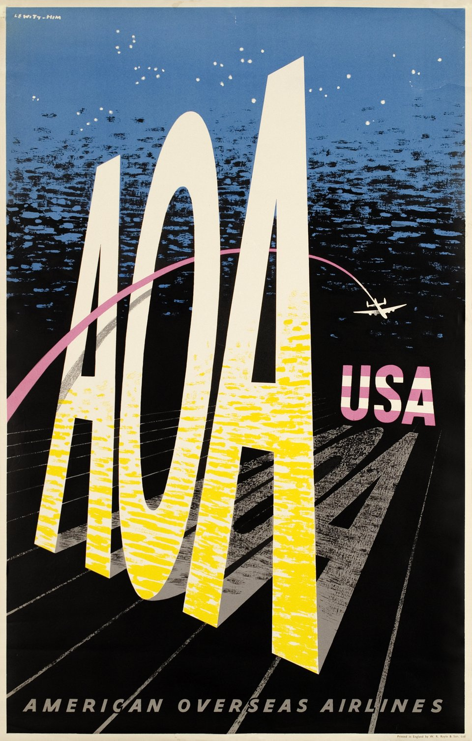 AOA, USA American Overseas Airlines – Vintage poster – Jan LEWITT – 1950