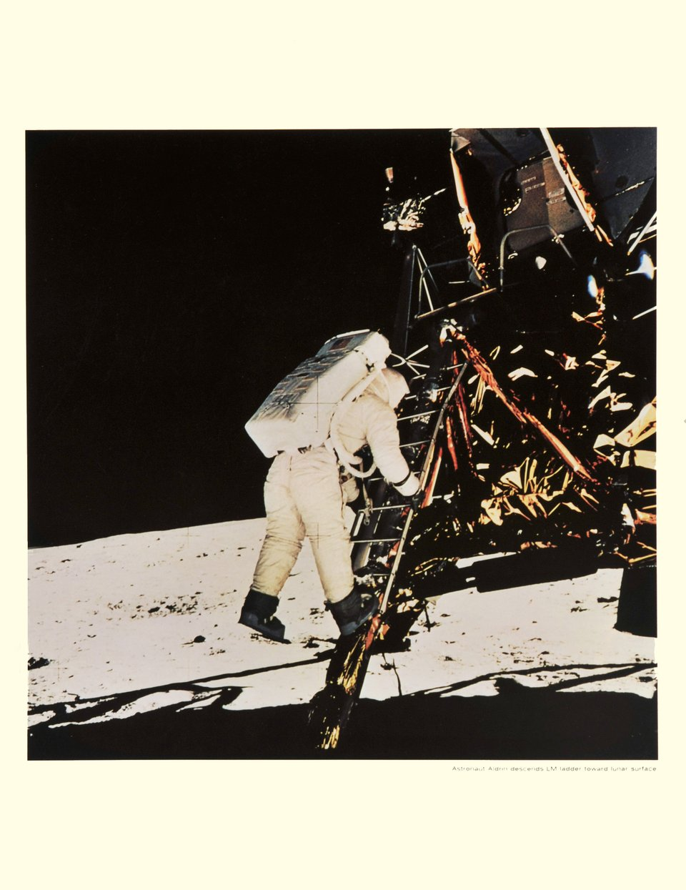 Apollo XI, Astronaut Aldrin descends LM ladder toward lunar surface – Vintage poster – NASA – 1969