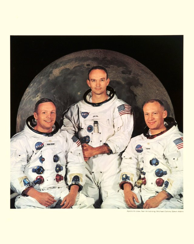 Apollo XI crew: Neil Armstrong with Michael Collins and Edwin Aldrin