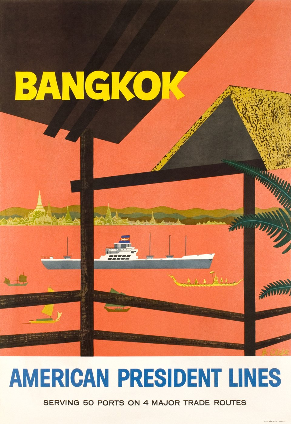 Bangkok, American President Lines – Affiche ancienne – J. CLIFT – 1958