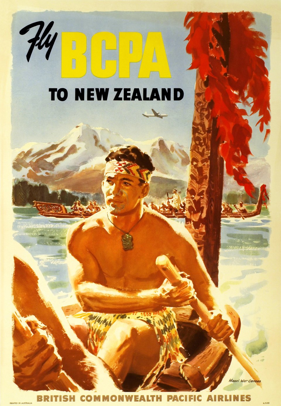 BCPA, Fly BCPA to New Zealand, British Commonwealth Pacific Airlines – Vintage poster – ANONYME – 1951
