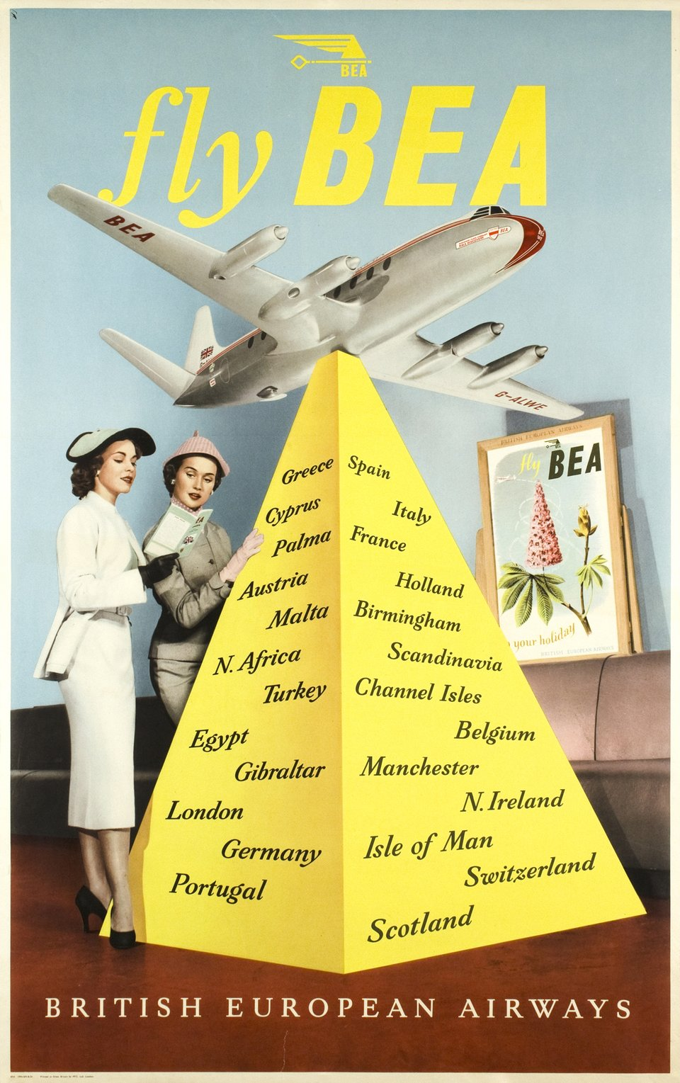 BEA - Fly BEA, British European Airways – Affiche ancienne – ANONYMOUS – 1954