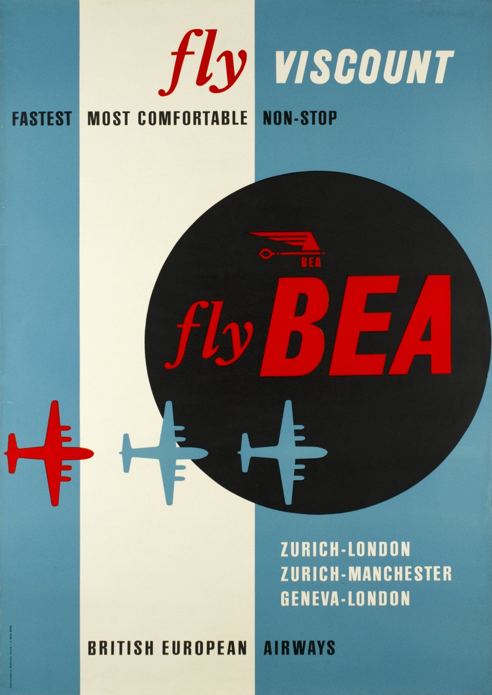 BEA - Fly BEA, British European Airways, Fly Viscount – Affiche ancienne – J WILD – 1950