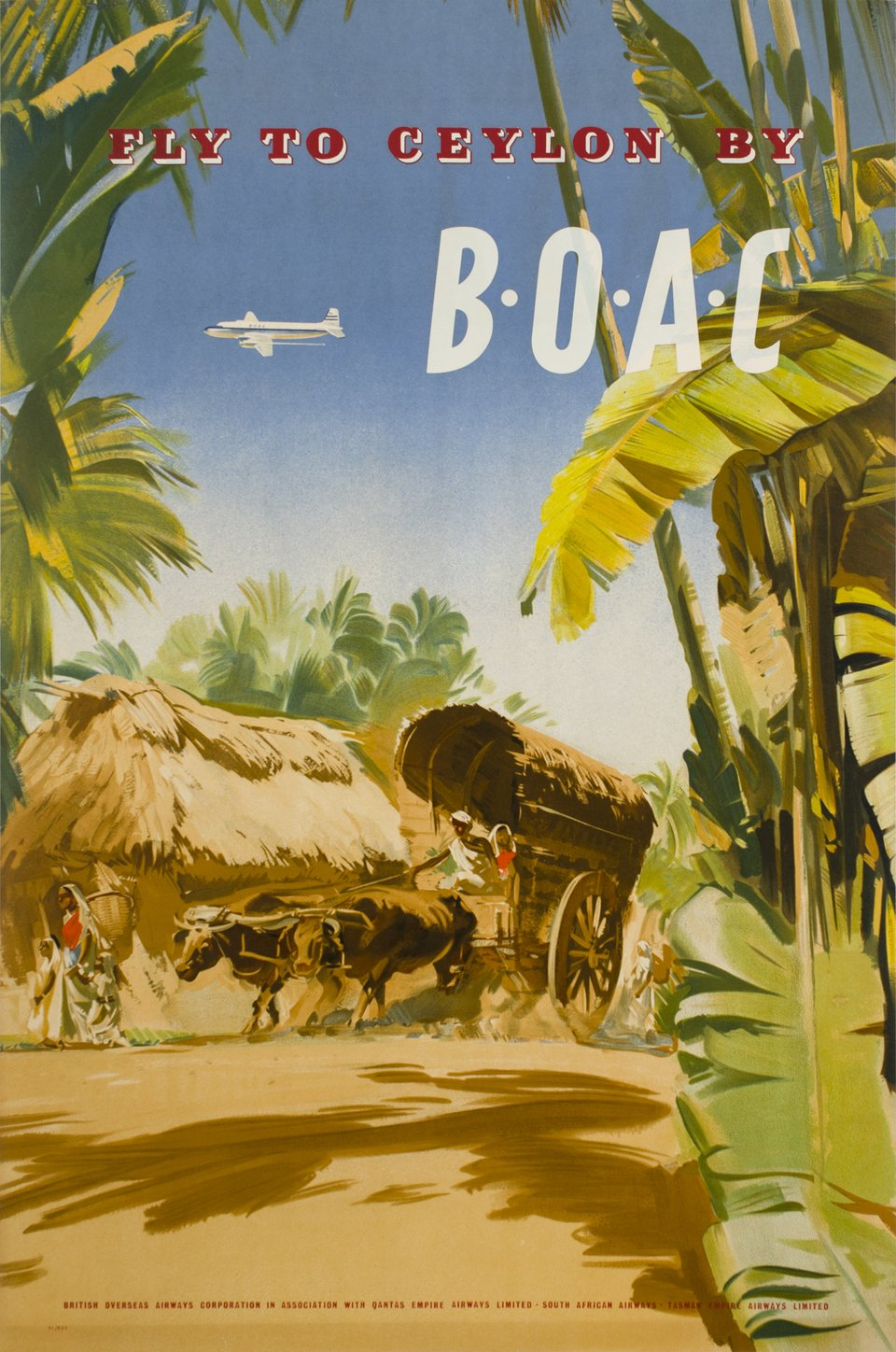 BOAC, Fly to Ceylon by B.O.A.C. – Affiche ancienne –  ANONYME – 1951