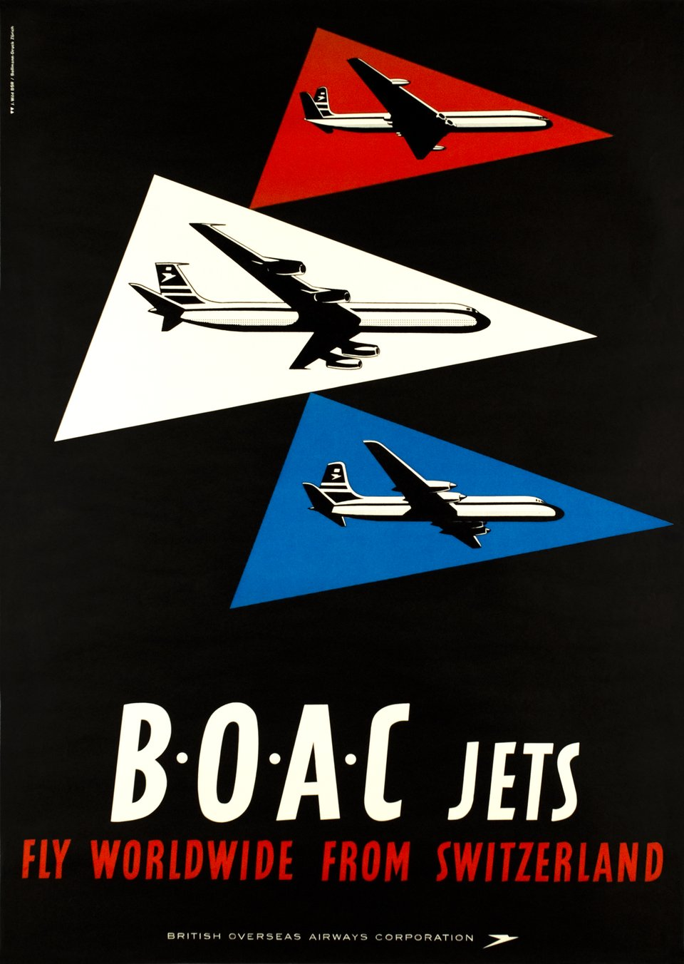 B.O.A.C. Jets fly worldwide from Switzerland – Affiche ancienne – J WILD – 1955