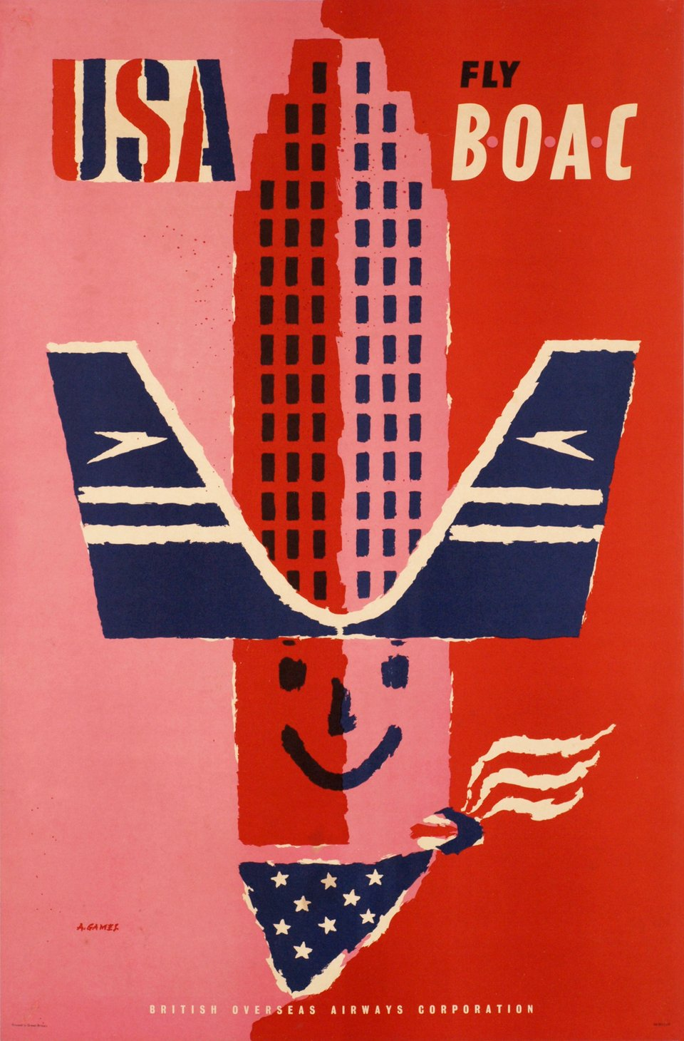 BOAC, USA, fly BOAC – Affiche ancienne –  GAMES – 1959