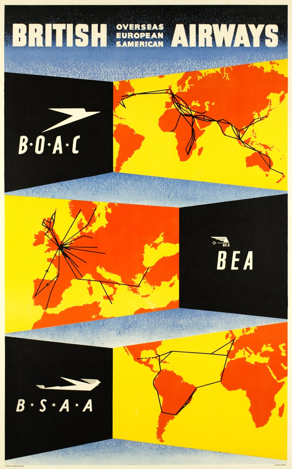 British Airways, BOAC, BEA, BSAA – Vintage poster –  ANONYME – 1947