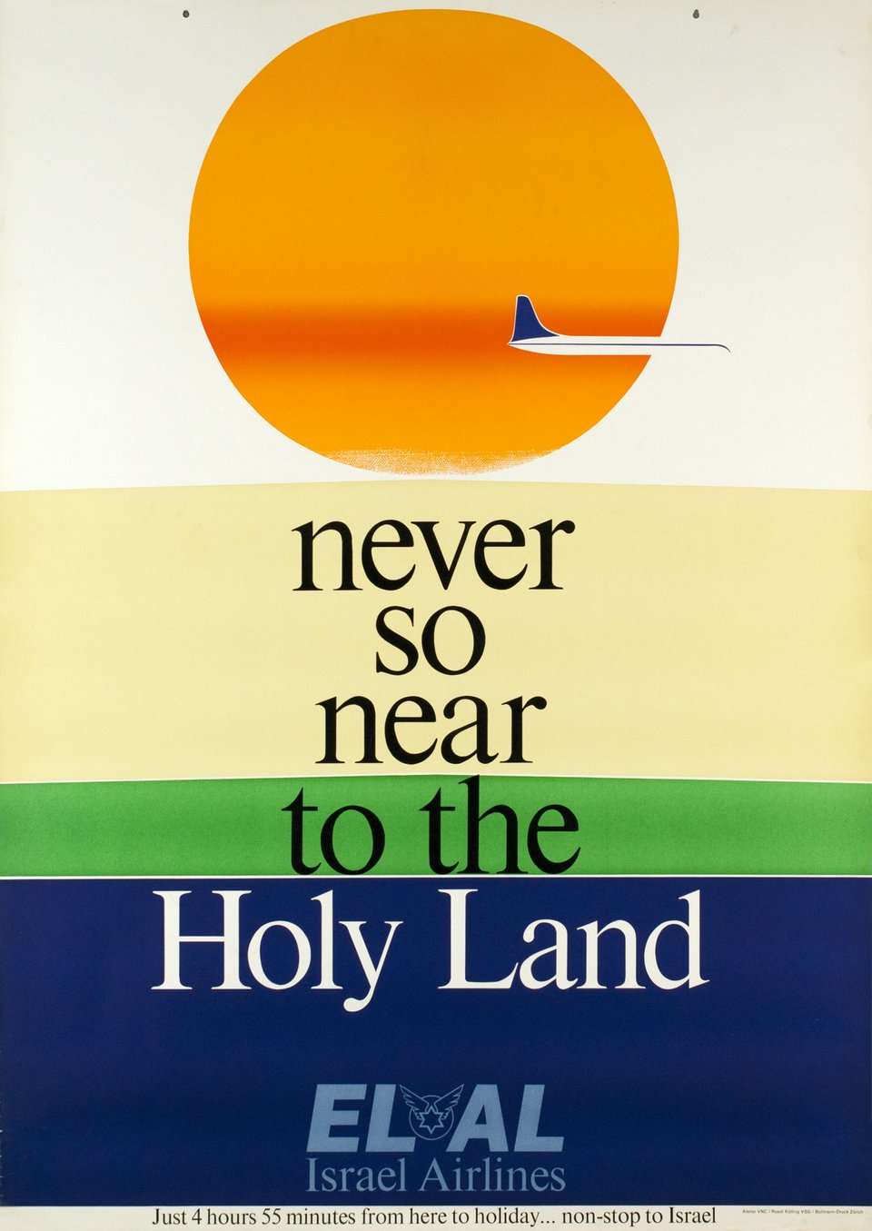 El Al Israël Airlines, never so near to the Holy Land – Affiche ancienne – Ruedi KÜLLING – 1962