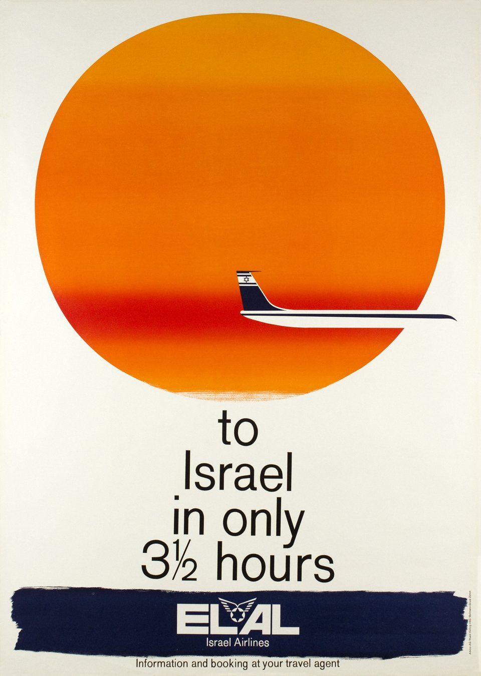 El Al Israel Airlines, to Israel in only 3 1/2 hours – Affiche ancienne – Ruedi KÜLLING – 1962
