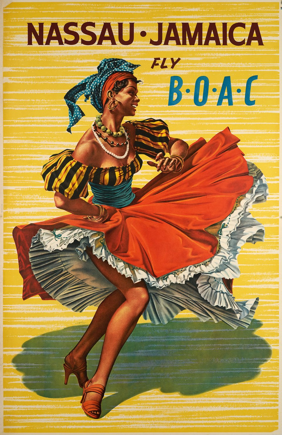 Fly B.O.A.C. , Nassau Jamaica – Affiche ancienne – ANONYMOUS – 1950