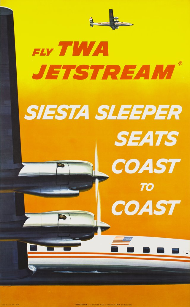 Fly TWA jetstream, siest sleeper seats coast to coast