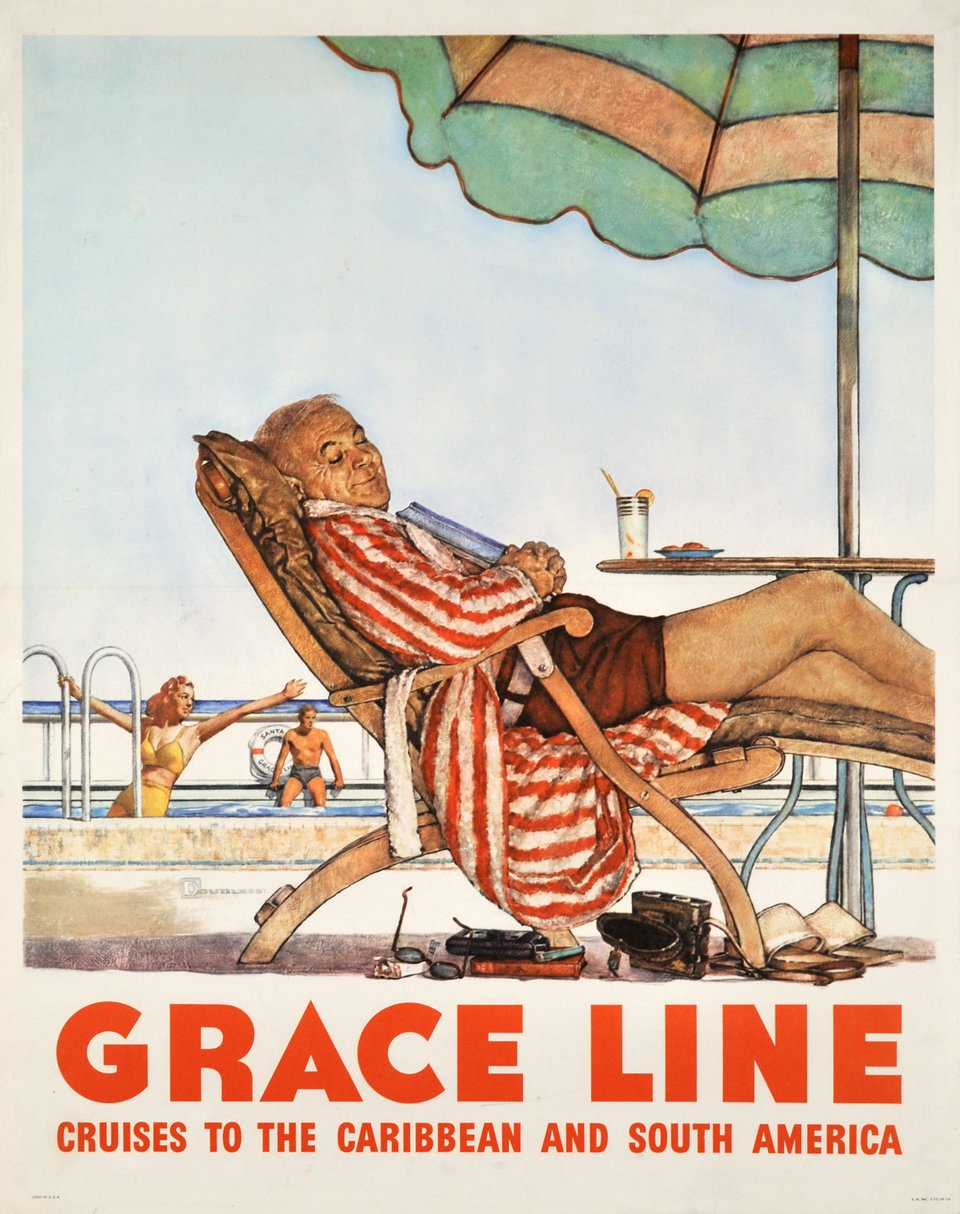 Grace Line, cruises to the Caribbean and South America – Vintage poster –  DOUGLASS – 1949