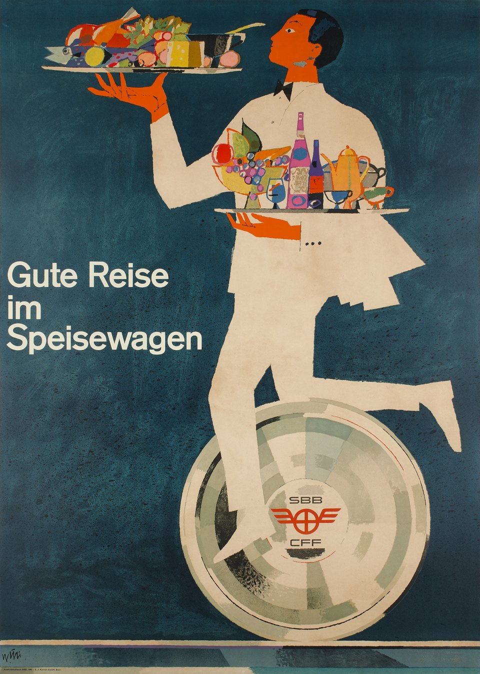 Gute Reise in Speisewagen – Affiche ancienne – Hugo WETLI – 1960