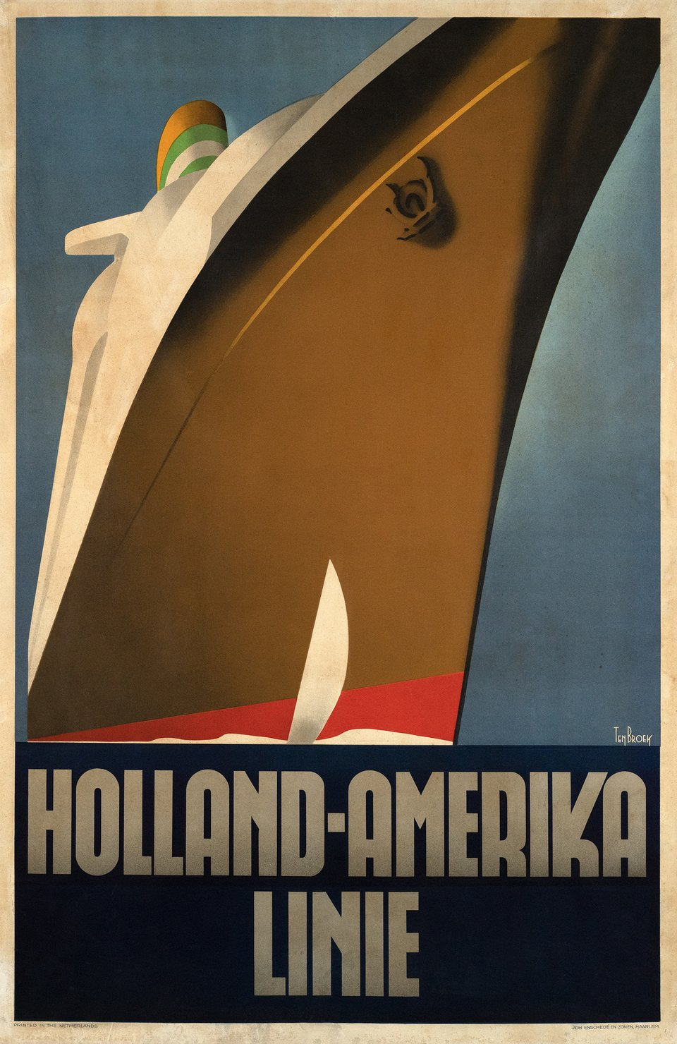 Holland America Line – Affiche ancienne – Willem F. Ten BROEK – 1936