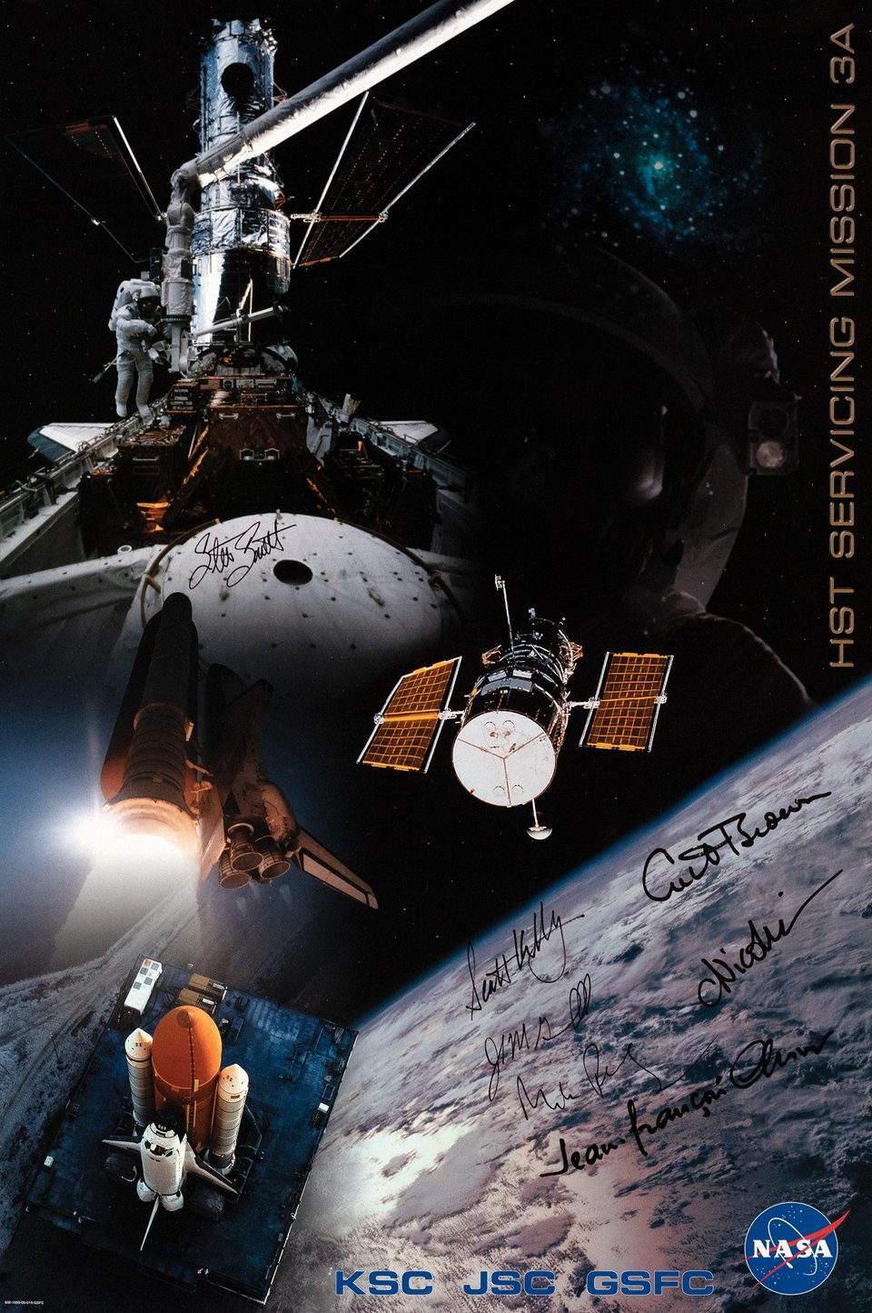 Hubble, HST Serving Mission 3A – Vintage poster – NASA – 1999