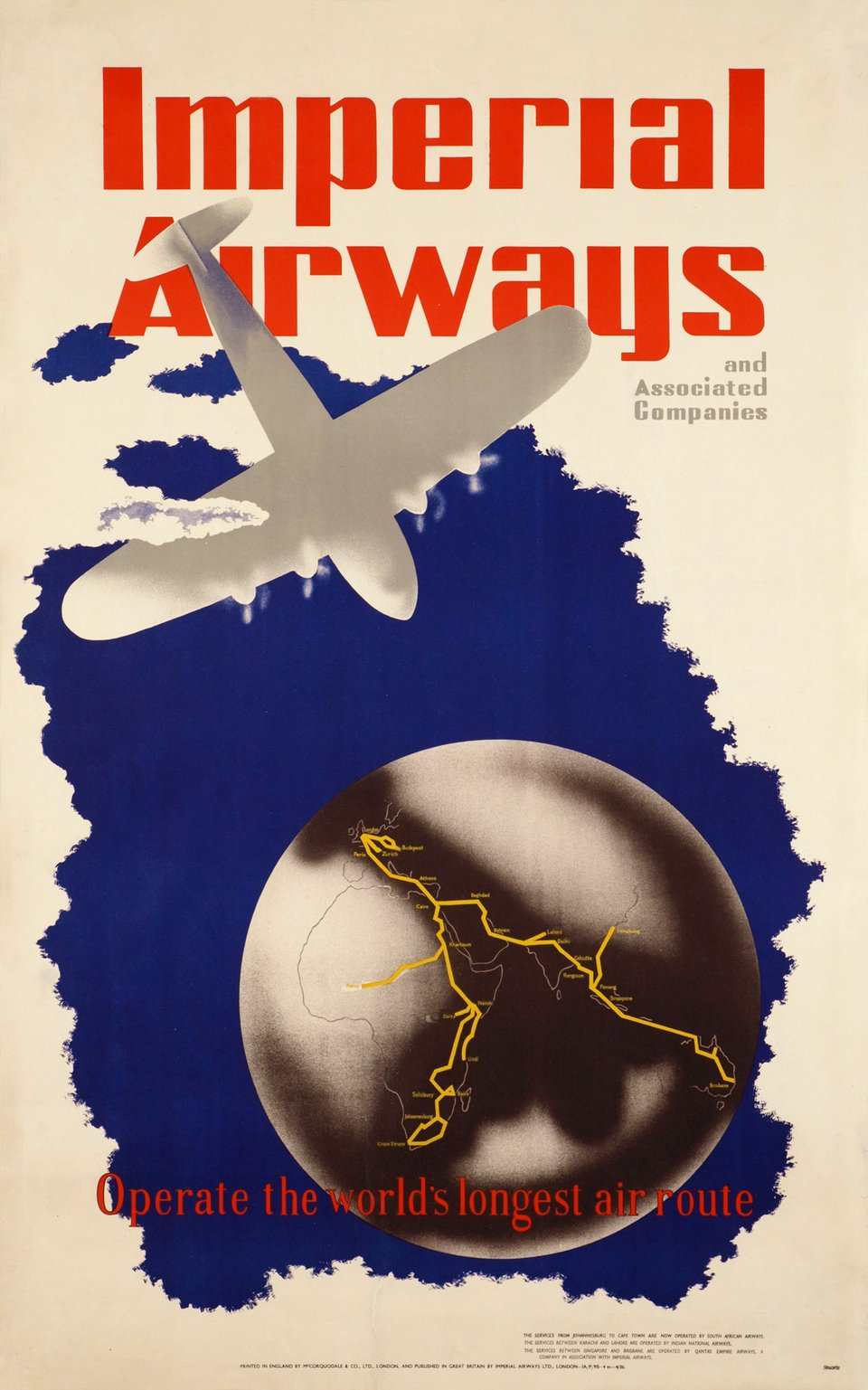 Imperial Airways operate the world's longest air route – Affiche ancienne –  STUARDS,  STUARTS – 1936