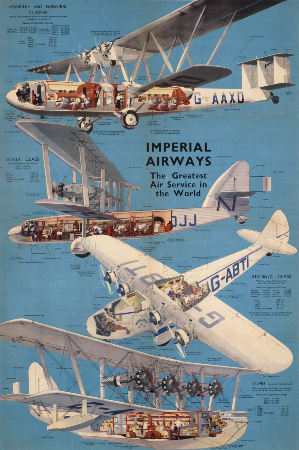 Imperial Airways, the greatest Air Service in the world – Vintage poster – ANONYME – 1936