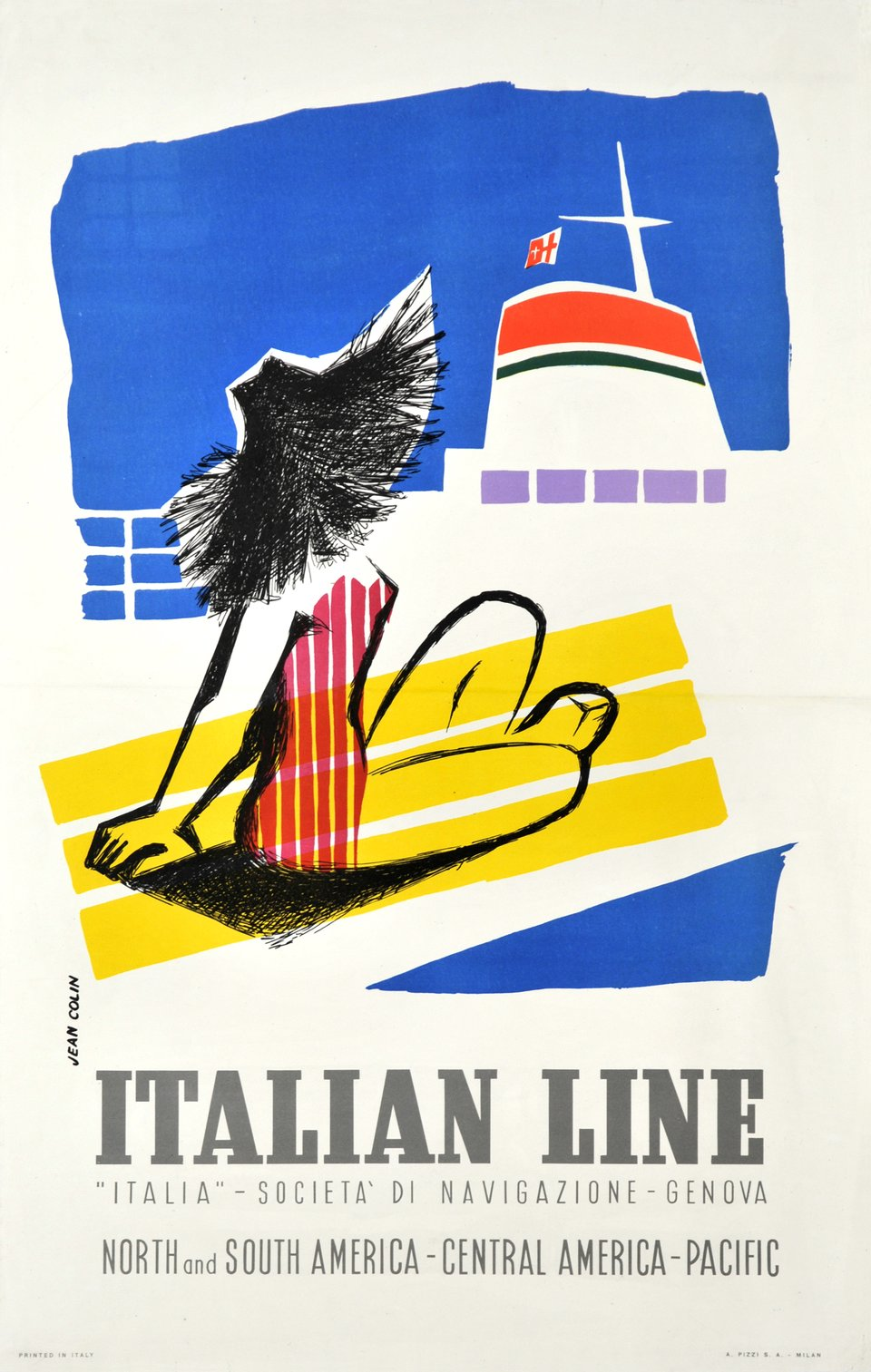 Italian Line, North and South America - Central America - Pacific – Affiche ancienne – Jean COLIN – 1950