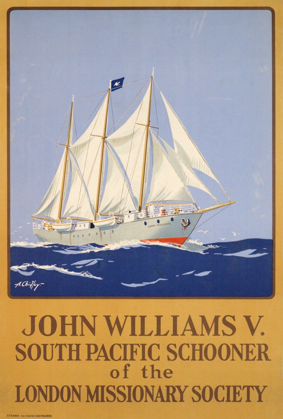 John Williams V., South Pacific Schooner – Vintage poster – A. CHIDLEY – 1930