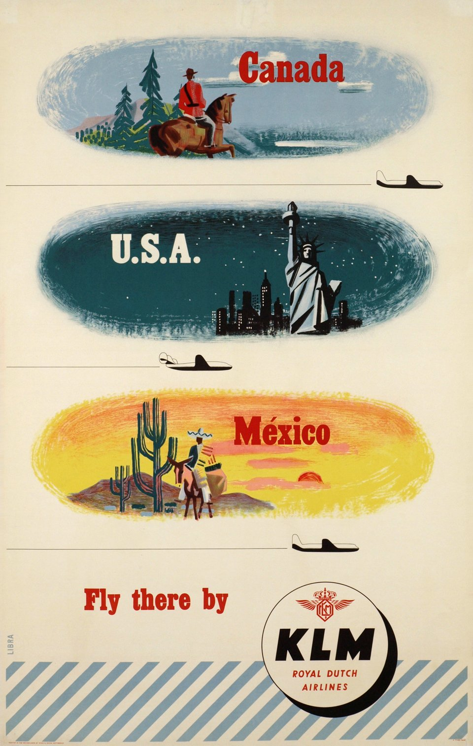 KLM, Canada, USA, Mexico, Fly there by KLM – Affiche ancienne – René LIBRA – 1952