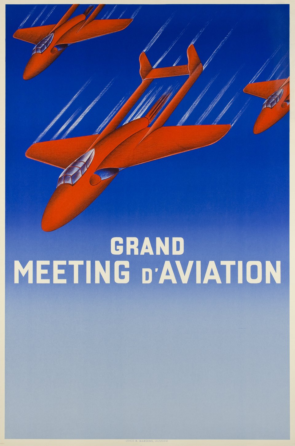 Lausanne, Grand Meeting d'Aviation – Affiche ancienne – ANONYME – 1951