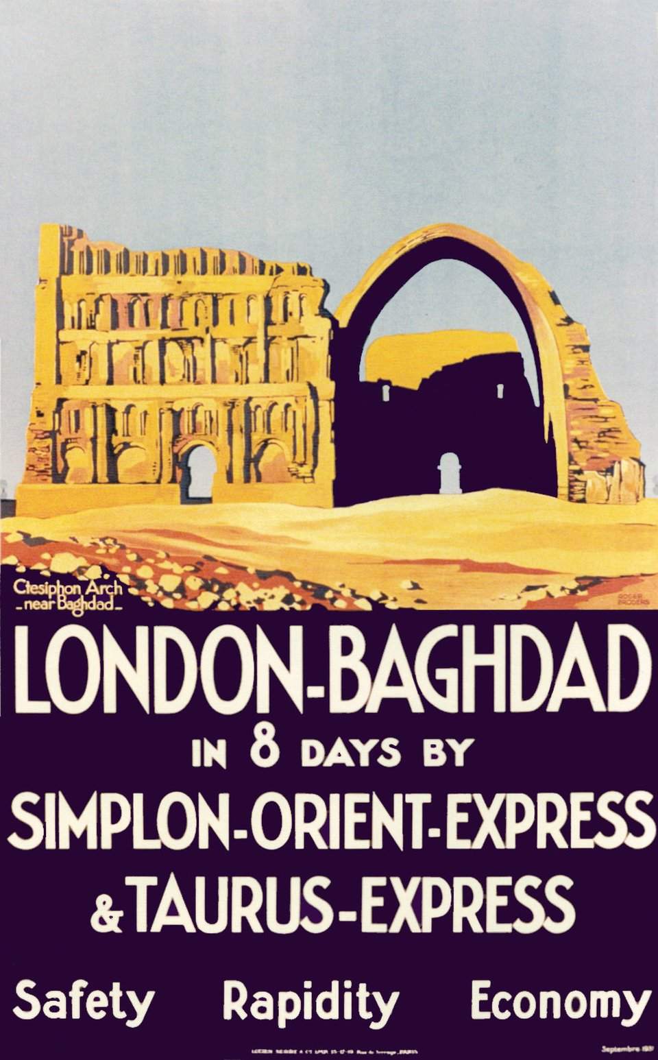 London - Baghdad in 8 days by Simplon Orient Express & Taurus Express, Safety Rapidity Economy – Affiche ancienne – Roger BRODERS – 1931