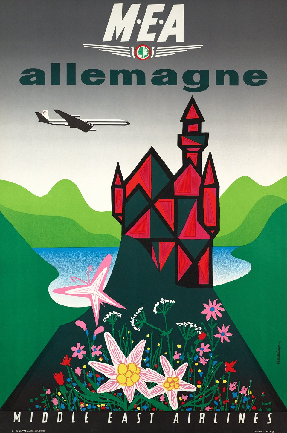 MEA Allemagne, Middle East Airlines – Vintage poster – Jacques AURIAC – 1961
