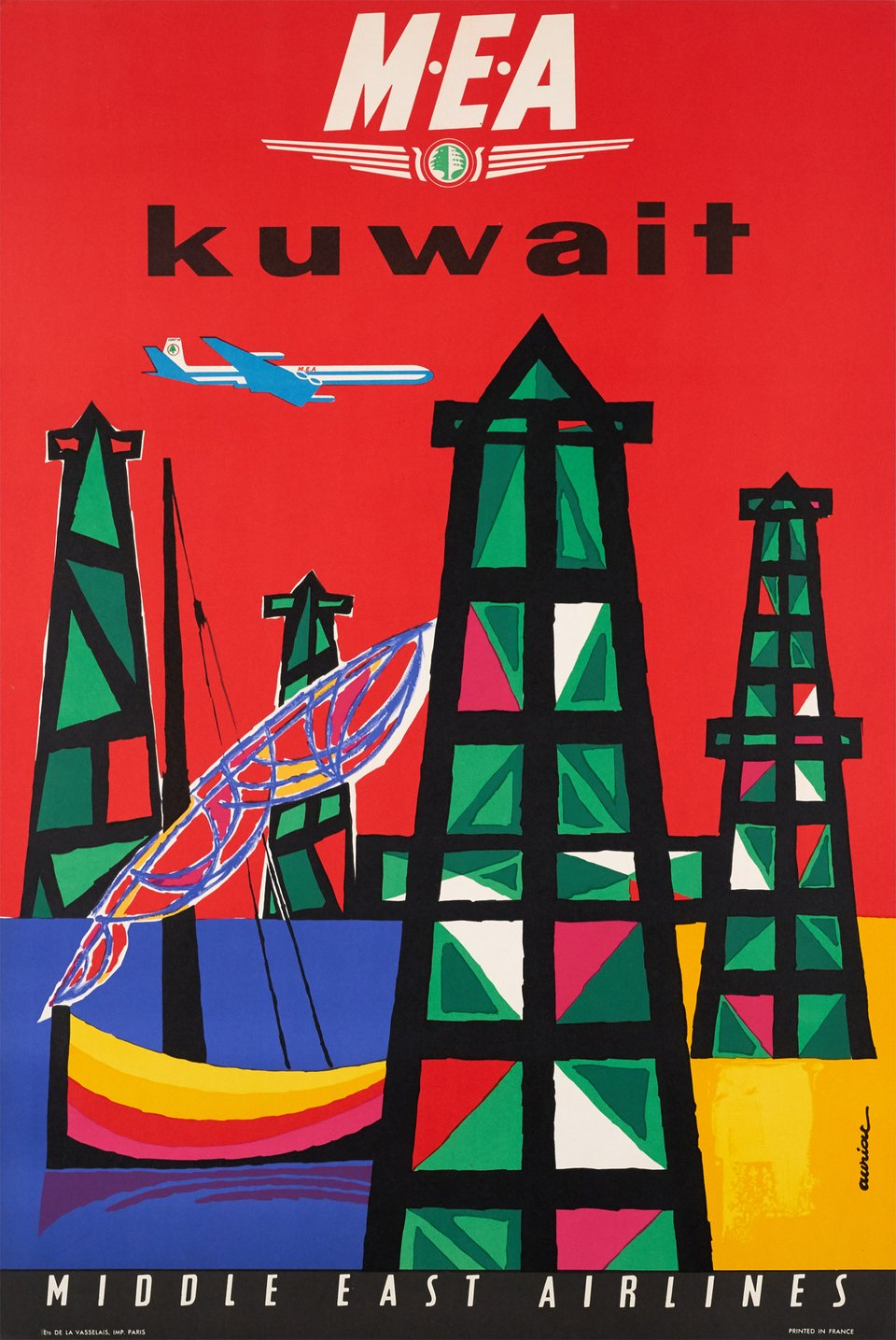 MEA Middle East Airways, Kuwait – Affiche ancienne – Jacques AURIAC – 1961