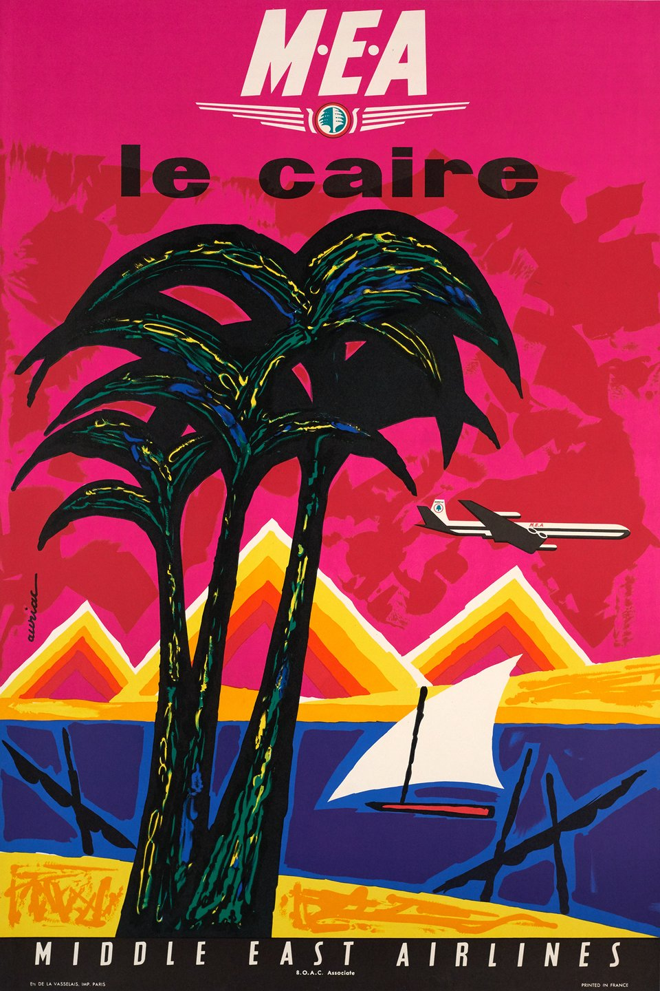 MEA Le Caire, Middle East Airlines – Affiche ancienne – Jacques AURIAC – 1961