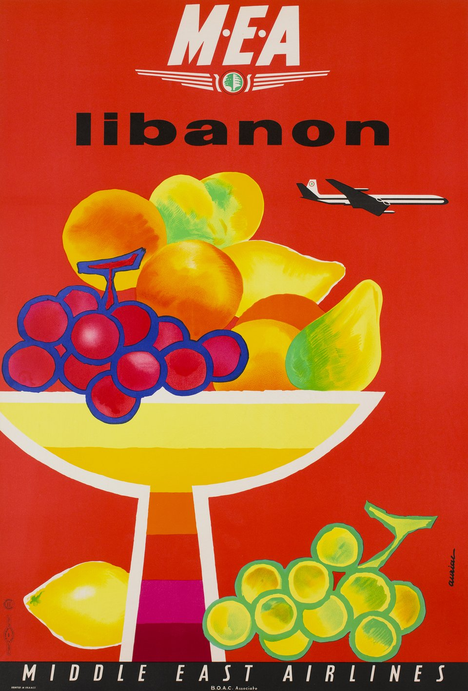 MEA Libanon, Middle East Airlines – Vintage poster – Jacques AURIAC – 1960