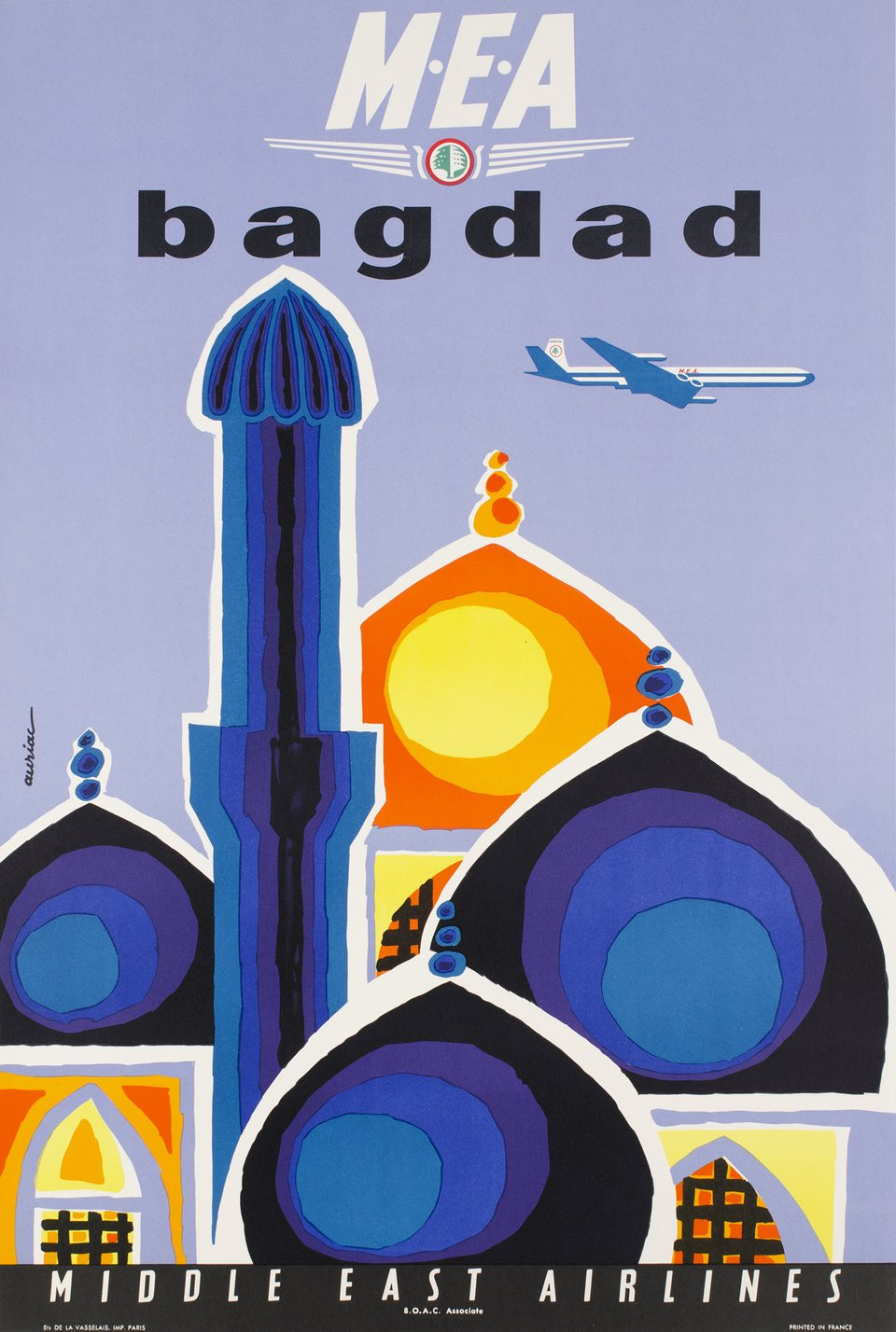 MEA, Middle East Airlines, Bagdad – Vintage poster – Jacques AURIAC – 1960